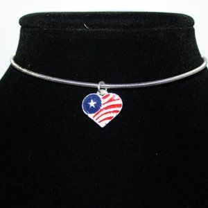 Silver coil choker necklace with American flag